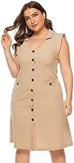 Elegant and Fashion The New Fat Girl Large Size Women Explosion Models in Europe and America Dress V-Neck Sleeveless Dress Pocket (Color : Khaki, Size : XXXL)