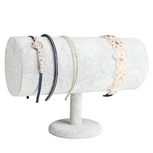 Yi-Yi Velvet Hovering T-Bar Detachable Jewelry Headband Hair Hoop Hairband Hair Clasp Holder Display Stand Rack Organizer (Grey)
