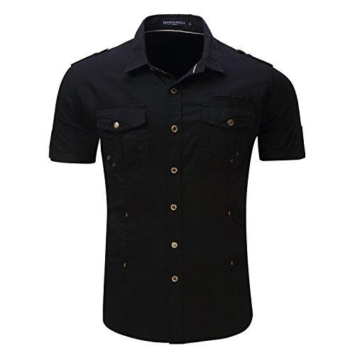 Mens Casual Short Sleeve Work Shirt, Button Down Shirt, 2 Pockets Man Shirt (Medium, 890B)