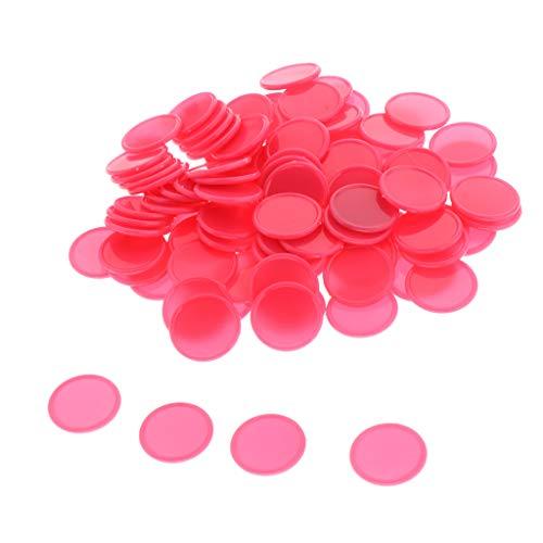 perfeclan 100x Gettoni in Plastica 25mm Gettoni da Gioco per Casinò, Gettoni da Gioco, Gettoni Gialli - Rosa Rossa