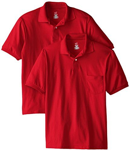 Hanes Men's Short Sleeve Jersey Pocket Polo, Deep Red, 3X-Large (Pack of 2)