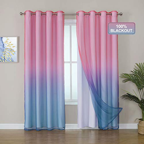 Selectex 100% Blackout Curtains with Sheer Ombre Curtains for Living Room - Mix and Match Curtain Thermal Insulated Sun Blocking Grommet Drapes for Girls Bedroom, 52x84, Set of 2 Panels, Pink & Blue