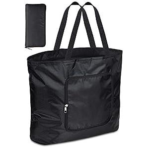 【2020年製 2枚セット】 TSUNEO エコバッグ 折りたたみ 人気 おしゃれ ショッピングバッグ 大容量 買い物袋 コンパクトバッグ 軽量 レジバッグ マイバッグ 防水 肩から提げれる 洗える (ブラック)