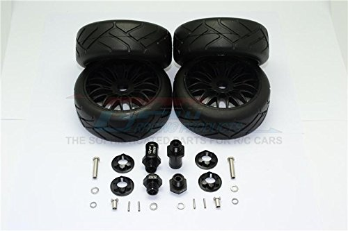 GPM Axial Yeti Rock Racer Tuning Teile Aluminium Front & Rear Hex Adapters + Rubber On-Road Radial Tires with Plastic Wheels - 2Prs Set Black