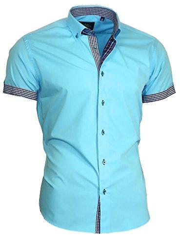 Louis Binder de Luxe Herren Hemd Shirt modern fit Kurzarm Button-Down-Kragen 833 türkis XXL 46