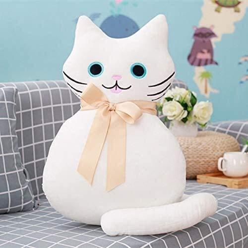 Fei Fei Kawaii - Peluche de cola larga, diseño de gato de peluche con moño suave cojín de 53 cm
