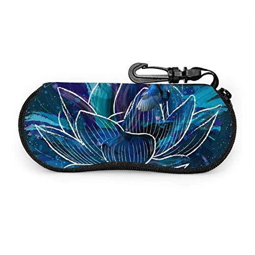 WCHAO Gafas de sol Lotus azules con hebilla de bloqueo Bolso suave Funda de gafas con cremallera de tela de buceo ultraligera