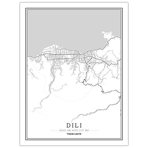 SONG Leinwand Bild, Dili Timor-Leste Stadtplan Malerei Schwarz Weiß Einfach Minimalist Art Wandbild Poster Rahmen Weniger Bild, Moderne Vertikale Malerei Cafe Office Home Decor,70 * 100cm