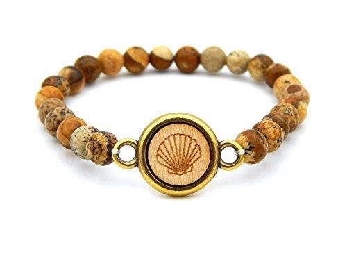 Damen Armband Natursteinperlen mit Stein-Marmorierung Braun mit Holz-Cabochon Muschel Perlenarmband flexibel