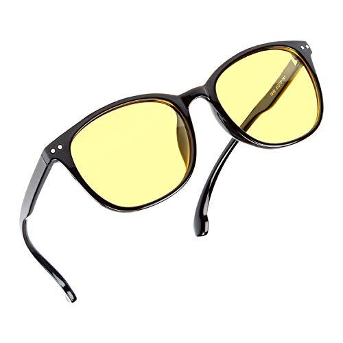 ZILLERATE NACHTFAHRBRILLE Unisex - Nachtsichtbrille filtert Licht von Scheinwerfern, NACHTBRILLE zum Autofahren, Gelb getöntes HD-Sichtglas, leichter komfortabler TR90-Rahmen, mit Schutz-Etui