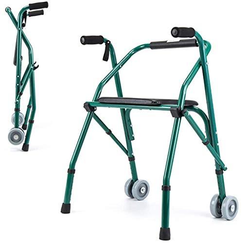 SHHYD Falten Rollator Für Senioren, Leicht Rollator Gehhilfe Mit Sitzplatte, 5 Dateien Einstellbar Reise Gehhilfe Krücke Für Die Schlaganfallrehabilitation