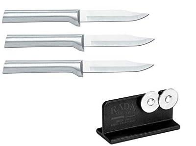 Rada Cutlery 3 Pack Paring Knife Plus R119 Knife Sharpener
