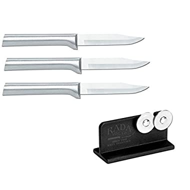 Rada Cutlery 3 Pack Paring Knife Plus R119 Knife Sharpener
