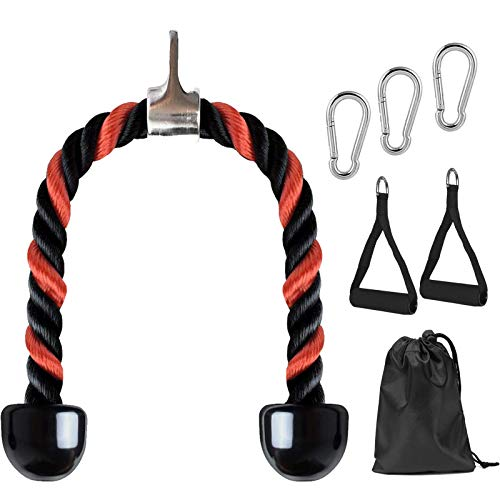 HEPU Tricep Rope Pull Down, Fitness Tricep Rope Multi Gym Cable Attachment,...