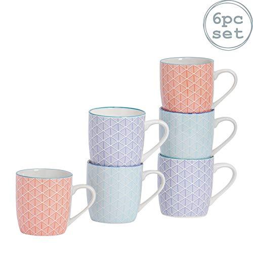 Nicola Spring Teetasse/Kaffeetasse mit Musterung - 280ml - 3 Designs - 6er Set
