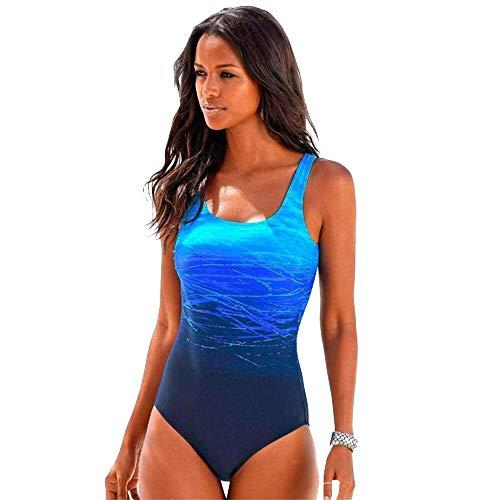 willkey Costume da Bagno Donna Intero Contenitivo Push Up Imbottito Modellante per Spiaggia Piscina Spa Mare (Blu, L)