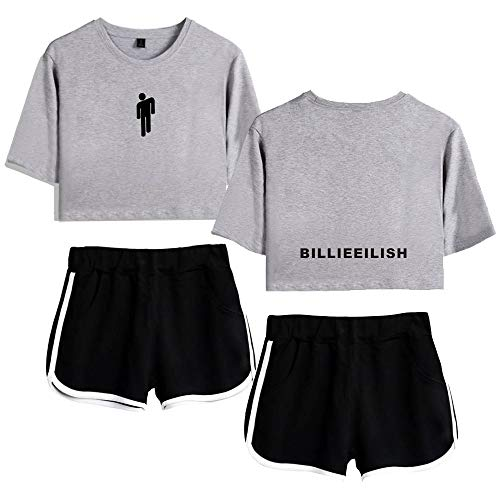 Billie Eilish Mädchen lose 3D Print Top und Shorts Kurzarm T-Shirt 2 Stück Set Anzug Yoga stilvolle Kleidung (Color : Gray B, Size : XS)
