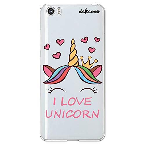 dakanna Funda para [Xiaomi Mi5 / Mi 5] de Silicona Flexible, Dibujo Diseño [Unicornio con Corazones y Frase, I Love Unicorn], Color [Fondo Transparente] Carcasa Case Cover de Gel TPU, Smartphone