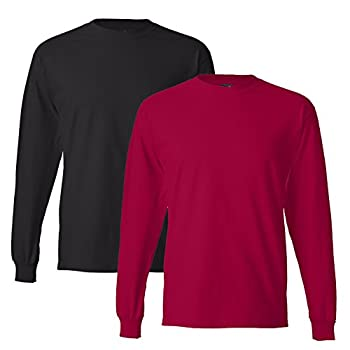 Hanes Men s 2 Pack Long Sleeve Beefy-T Shirt XXX-Large 1 Red / 1 Black