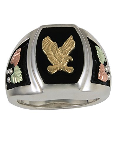 The Men's Jewelry Store 10k Yellow Bald Eagle Antiqued Ring, Sterling Silver, 12k Green and Rose Gold Black Hills Gold Motif, Size 13