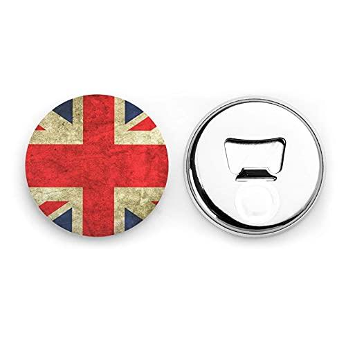 Vintage Union Jack British Flag Round Bottle Openers/Fridge Magnets Stainless Steel Corkscrew Magnetic Sticker 2 Pcs