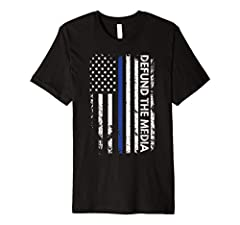 Stop the spread of Fake News and Defund the Media! Show your support for defunding the media and blue lives matter! This premium t-shirt is made of lightweight fine jersey fabric Fit: Slim (consider ordering a larger size for a looser fit)