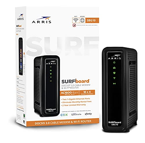 ARRIS Surfboard (16x4) Docsis 3.0 Cable Modem Plus AC1600 Dual Band Wi-Fi Router, Certified for Xfinity, Spectrum, Cox & More (SBG10), Black, Max Download Speed: 686 Mbps (Renewed)