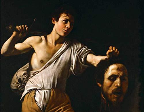 Davi com a Cabeça de Golias (1606) de Caravaggio - 30x38 - Tela Canvas Para Quadro