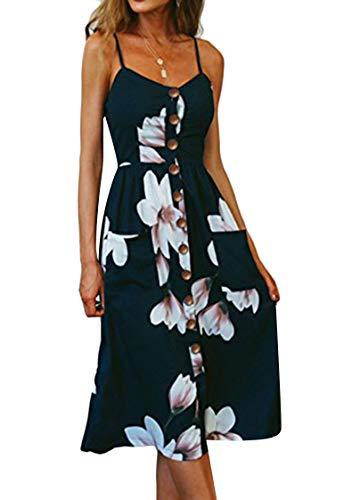 OMZIN Damen Kleid Strandkleid mit Tasche Schulterfrei A-Linie Strandkleid Blumenkleid Sommerkleid Viele Färben Navy Blau XL