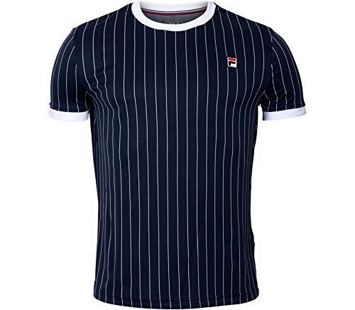 Fila Herren, Stripes T-Shirt Dunkelblau, Weiß, M Oberbekleidung, M