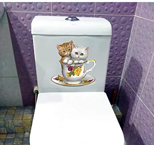 Suwhao 19.8X20.6Cm Twee Leuke Thee Cup Katten Kinder Kamer Decor Muursticker Badkamer Toilet Sticker