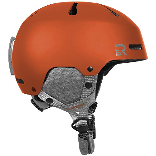 Retrospec Traverse H3 Adult 2-in-1 Convertible Ski & Snowboard / Bike & Skate Helmet with 10 vents; Matte Ember Orange, Large 59-62cm