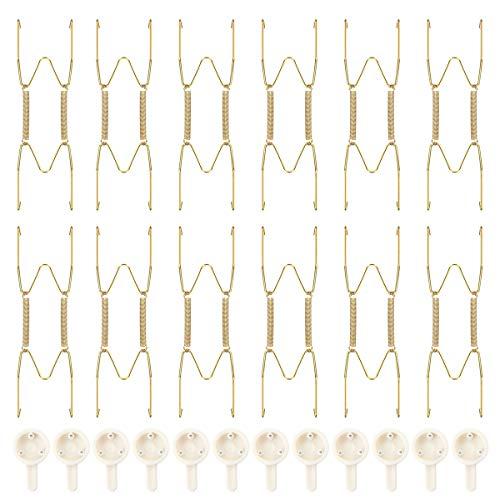 PFativant 12 Pezzi Appendini per Piatti, 6 Pollici Dorato Appendini per Piatti da Parete Invisibili Appendi Piatti Decorativi
