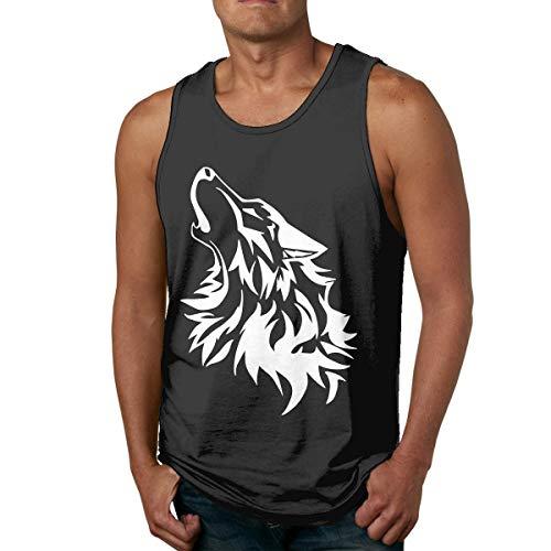 KLKLK Muskelshirt Wolf Face Men\'s Essential Muscle Sleeveless T-Shirt Tank Top Vest for Training