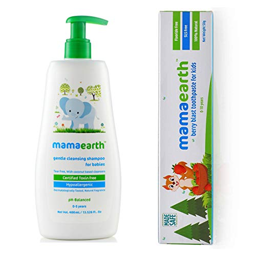 Mamaearth Gentle Cleansing Shampoo for Babies (400 ml, 0-5 Yrs) änd 100 Percent Natural Berry Blast Kids Toothpaste, 50g