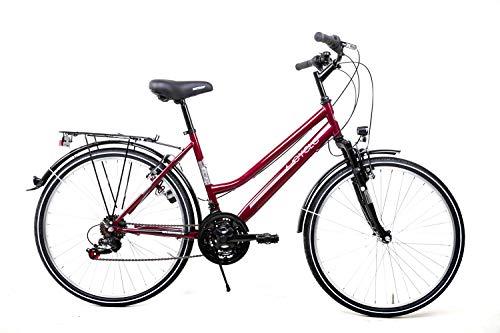 26 Zoll Damen Fahrrad Trekking City Bike 18 Gang Shimano mit STVZO Kirschrot