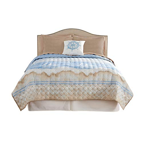 BrylaneHome Coastal 3-Pc. Quilt Set - King, Blue Multi