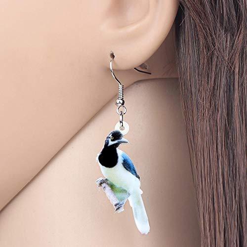 EHXWL Orecchini in Acrilico Bianco con Coda di Uccello Jay Drop Ciondola Gioielli Animali Naturali per Le Donne Ragazze Regalo di Fascino Teenager Nuovo Design