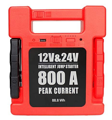 12V&24V Auto Starthilfe Powerbank, 24000mAh, 800A Spitzstrom, Powerbank Auto Starterbatterie, Autobatterie Anlasser(für alle Benzin und Diesel motoren) mit USB-Schnellladung und LED Taschenlampe