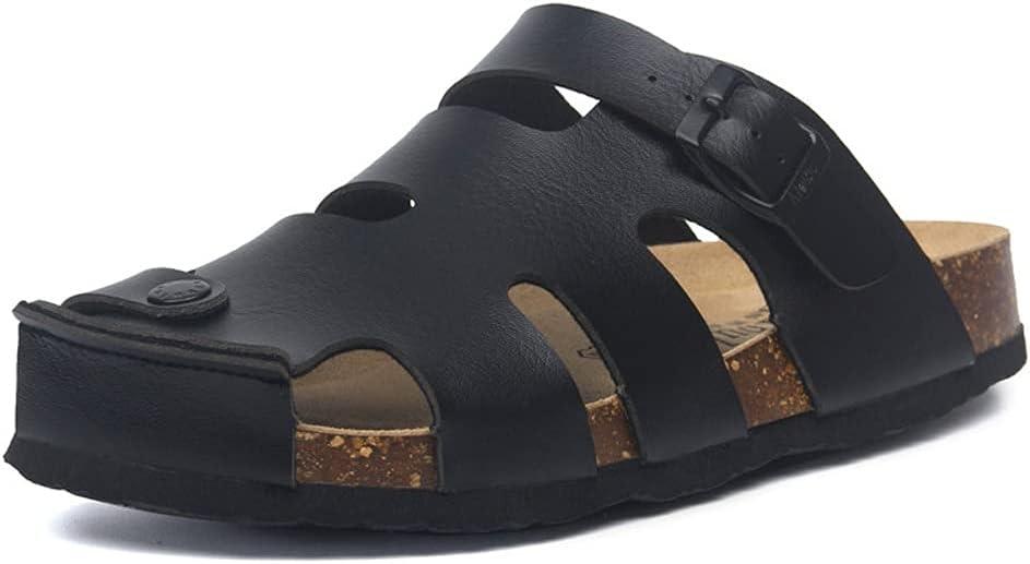 SKREOJF Summer Buckle Cork Slipper Casual Men Beach Outside Non-slip Closed Toe Cut-outs Slides Shoes (Color : Black, Size : 7)