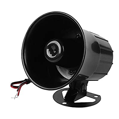 Tosuny Alarm Siren, ES-626 Siren 12V 110dB Treble Speaker Wire Loud Horn Alarm Siren Speaker Burglar Alarm System for Outdoor Security (Black)