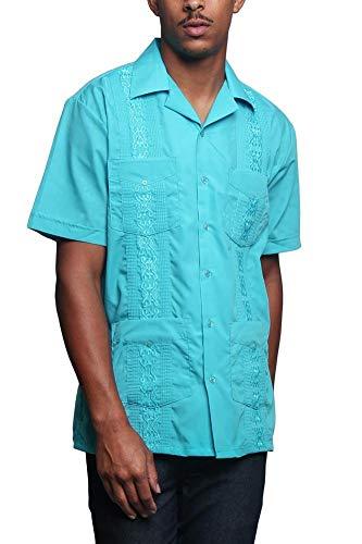 Guayabera Herren Hemd, leicht, bestickt, plissiert, kubanisch -  Blau -  Mittel