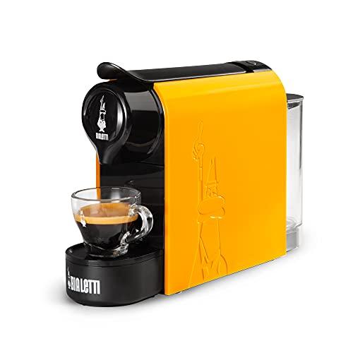 Bialetti Gioia, Macchina da Caffè Espresso per Capsule in Alluminio sistema Bialetti il Caffè d Italia, Supercompatta, Ocra