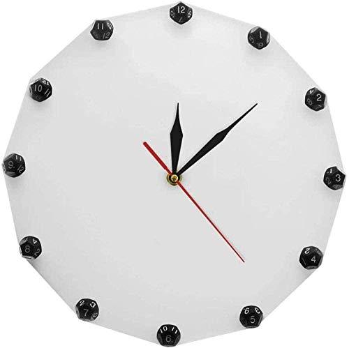 Reloj De Pared Juego De Dados Reloj De Pared De 12 Lados Dados Negros Sala De Juego Decoración De Pared Juego De Dados Arte Abstracto Reloj De Pared Moderno Regalo Para Jugador 30X30 Cm