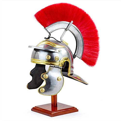 Medieval Century Red Crest Roman Centurion Gallic Smiths Helmet for Gladiators Warriors for LARPERS