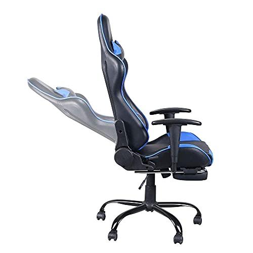 Gtracing Chair Gaming, Sillas de Videojuegos Silla de Carreras Negro Azul con reposapiés, Silla de Oficina reclinable y giratoria Silla para Juegos