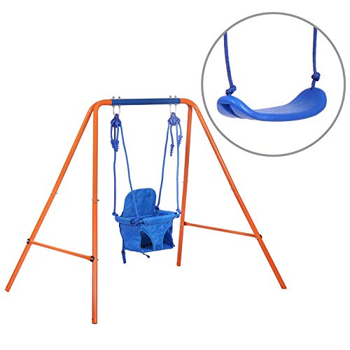 JL Comfurni Swing Sets for Backyard,Heavy Duty Swing Kids for Indoor Outdoor Playground,Steel Frame with Adjustable Hanging 2 Seats for 3-10 Years Old Kids
