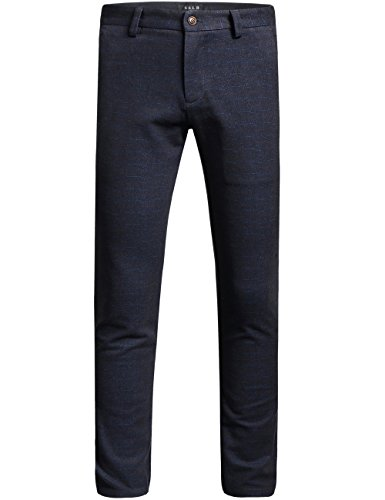 SSLR Pantalones Slim Fit Hombre de Vestir Business Casual Pants Rectos (W38, Azul Negro)