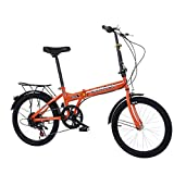 City Road Bikes, Fashion Outdoor Sports Bike, 20in 7 Speed ??City Folding Mini Compact Bicycle Urban Commuters, Leisure Folding Bike Suitble for Travel and Go Working for Men/Women (Orange)