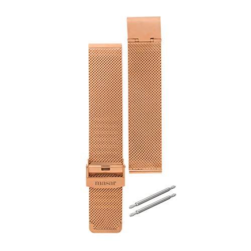 Masar-16mm-Oro Rosa-Cinturino-Orologio-Maglia Milanese per sostituzione multi-marca-Acciaio Inossidabile-(fornito con due barre a molla) (16mm-Oro Rosa)